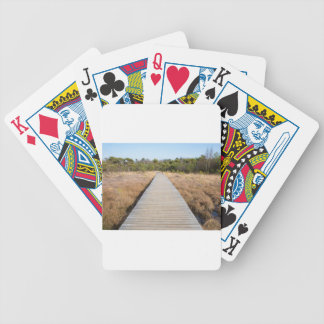 Wooden path in grass and forest winters landscape. poker deck