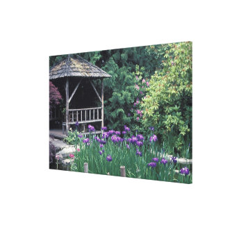 Wooden pavilion in the Sunken Garden in Gallery Wrapped Canvas