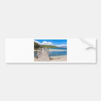 Wooden pedestrian bridge on greek beach bumper sticker