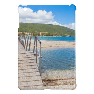 Wooden pedestrian bridge on greek beach iPad mini covers