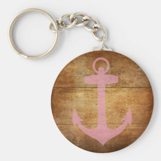 Wooden Pink Anchor Key Ring
