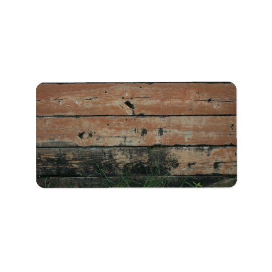 Wooden planks with algae grass  growing photograph label