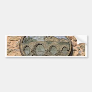 Wooden plaque Furelos Bridge, El Camino, Spain Bumper Sticker