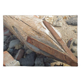 Wooden pole with an iron tip at a construction sit placemats