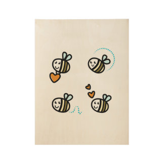 Wooden poster with little bees wood poster