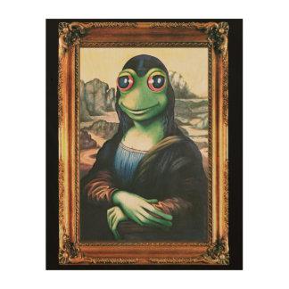Wooden print Mona Lisa Frog 11x14 inch