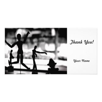 Wooden Puppet BW Photo Greeting Card