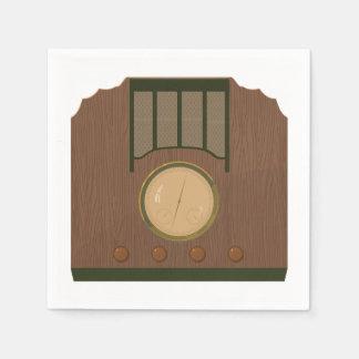 Wooden Retro Radio Paper Napkins