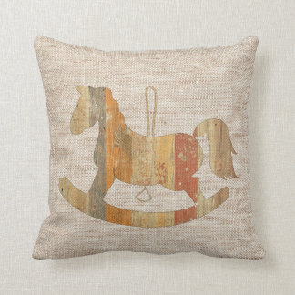 Wooden Rocking Horse Vintage Style Linen Pillow