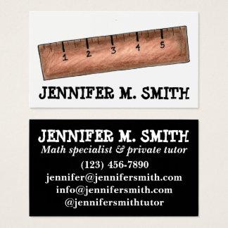 Wooden Ruler Math Teacher Tutor Mathematics School Business Card