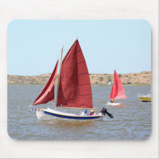 Wooden sail boat mouse pad