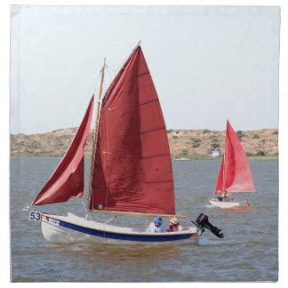 Wooden sail boat napkin