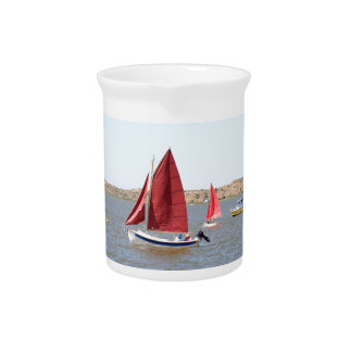 Wooden sail boat pitcher