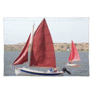 Wooden sail boat placemat