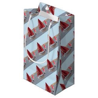 Wooden sail boat small gift bag