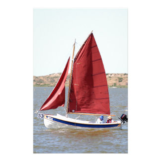 Wooden sail boat stationery