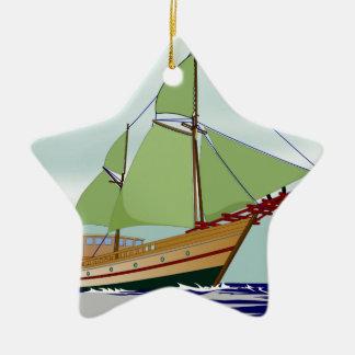 Wooden Sailboat Ceramic Star Decoration