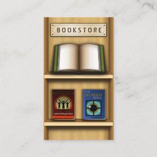 Books shop business cards zazzle au wooden shelf book store bookstore business cards reheart Gallery