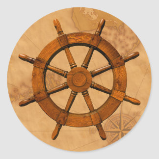 Wooden Ship Wheel Classic Round Sticker