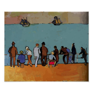 wooden Ships visit River Front, Fauvist Abstract Poster