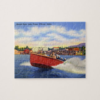 Wooden Speed Boat on Lake Coeur d'Alene, Idaho Jigsaw Puzzle