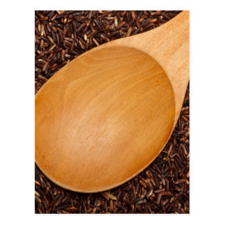Wooden spoon on Thai Red Cargo rice Postcard