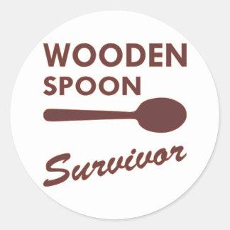 Wooden Spoon Survivor Round Sticker