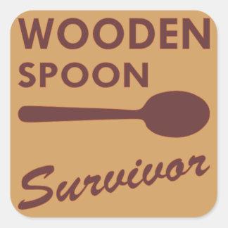 Wooden Spoon Survivor Square Sticker