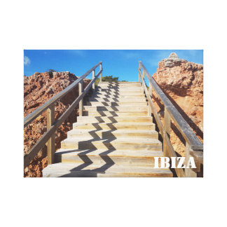 wooden stairway canvas by the rock