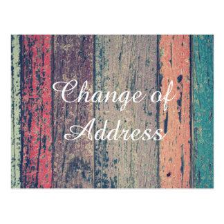 Wooden stylish Change of address Postcard