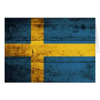 Wooden Sweden Flag Note Card