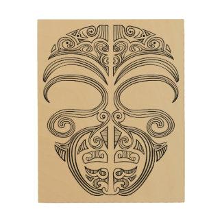 wooden ta moko wood print