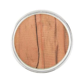 Wooden texture lapel pin