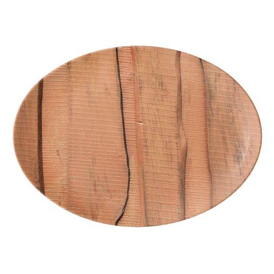 Wooden texture porcelain serving platter
