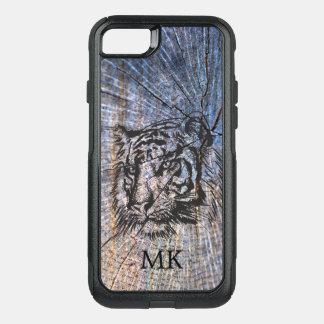 Wooden Tiger Blue Monogram OtterBox Commuter iPhone 8/7 Case