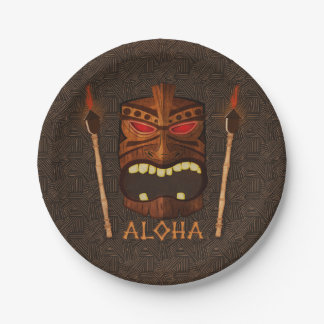 Wooden Tiki Mask Vintage Retro ALOHA Summer Party Paper Plate