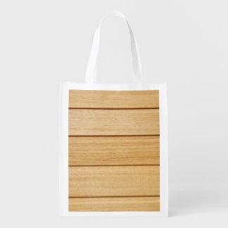 Wooden Tiles Reusable Bag