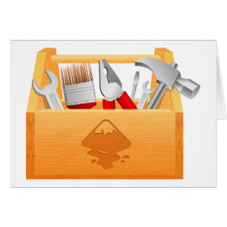Wooden Toolbox with Tools Cards