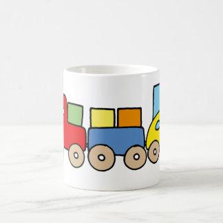 Wooden train with bricks basic white mug