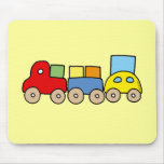 Wooden train with bricks mousemats
