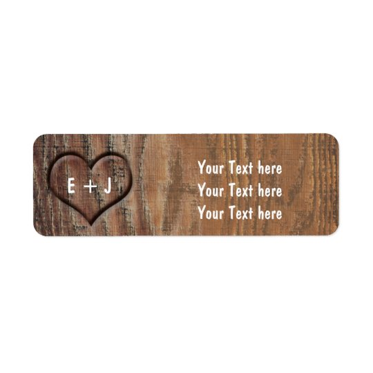 Wooden Tree Carved Heart Rustic Address Labels
