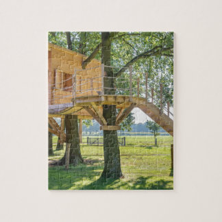 Wooden tree house in oak tree with grass puzzle