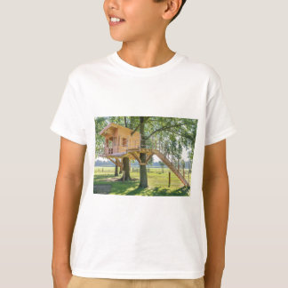 Wooden tree house in oak tree with grass T-Shirt