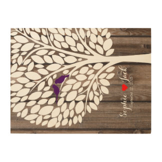 wooden tree signing wedding guestbook birds purple wood wall decor