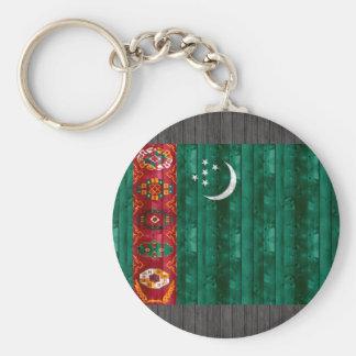 Wooden Turkmen Flag Keychains