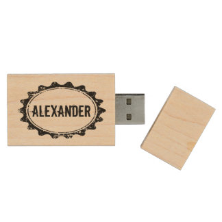 Wooden USB flash drive with custom vintage stamp Wood USB 2.0 Flash Drive