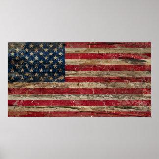 Wooden Vintage American Flag Poster