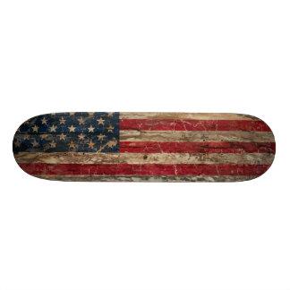 Wooden Vintage American Flag Skateboard