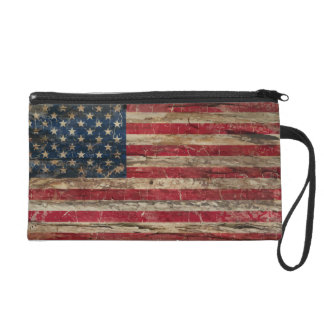 Wooden Vintage American Flag Wristlet Purse