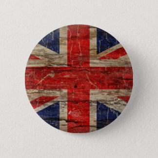 Wooden Vintage Union Jack Flag 6 Cm Round Badge